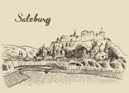 austria: Salzburg skyline Austria vintage engraved illustration hand drawn sketch