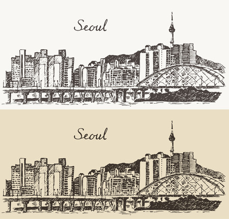ソウル特別市建築韓国ビンテージ刻まれたイラストは手描きのスケッチ