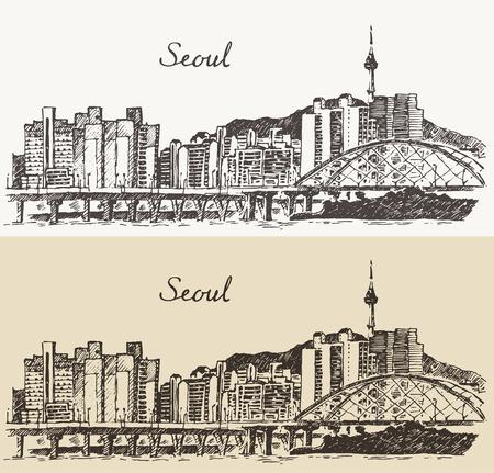 서울 특별시 도시 건축 한국 빈티지 새겨진 그림 손으로 그린 스케치