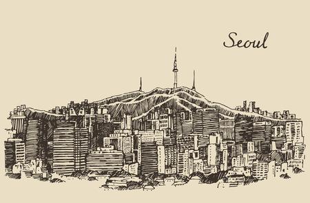 sur: Ilustración grabada boceto dibujado a mano la arquitectura Seoul Special City Corea del Sur de la vendimia Vectores