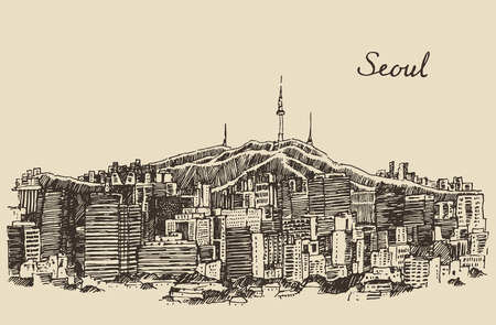 korea: Seoul Special City architecture South Korea vintage engraved illustration hand drawn sketch