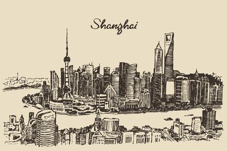 shanghai china: Shanghai City architecture China vintage engraved illustration hand drawn sketch