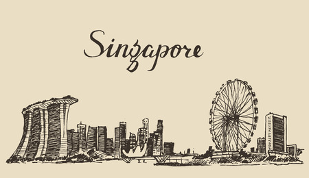 asia business: Singapore big city architecture vintage engraved illustration hand drawn sketch Republic of Singapore