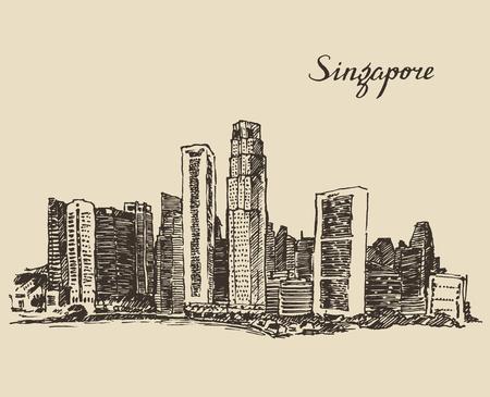 singapore cityscape: Singapore big city architecture vintage engraved illustration hand drawn sketch Republic of Singapore
