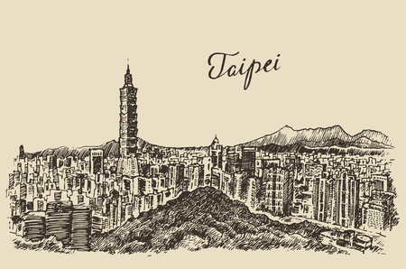 Taipei skyline Taiwan big city architecture vintage engraved illustration hand drawn sketch Illustration