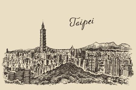 Taipei skyline Taiwan big city architecture vintage engraved illustration hand drawn sketch Иллюстрация