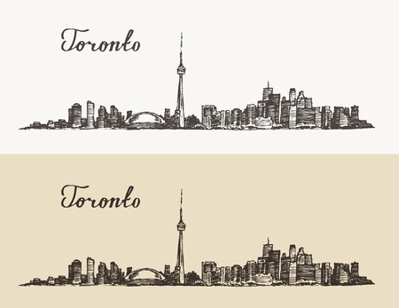 toronto: Toronto skyline Canada big city architecture vintage engraved illustration hand drawn sketch