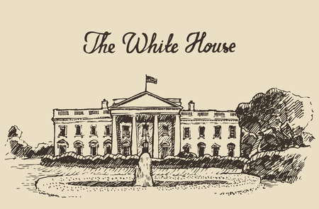 White House in Washington DC engraved vector illustration hand drawn sketch Illustration