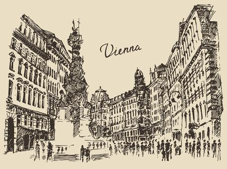 Straten in Wenen Oostenrijk met de hand getekende vector illustratie schets gegraveerd stijl Vector Illustratie