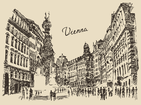 Streets in Vienna Austria hand drawn vector illustration sketch engraved style