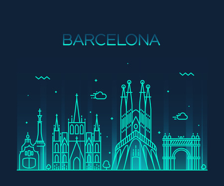 barcelona spain: Barcelona City skyline detailed silhouette Trendy vector illustration line art style