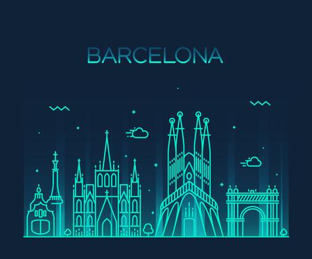 Barcelona City skyline silhouette dettagliate stile arte vettore d'avanguardia illustrazione linea