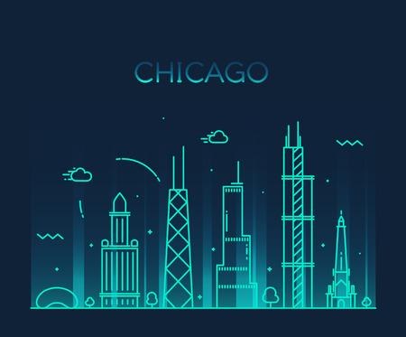 シカゴ都市スカイライン詳細シルエット トレンディなベクトル イラスト ライン アート スタイル  イラスト・ベクター素材