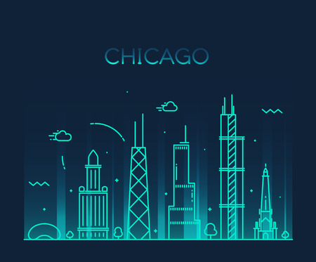 chicago: Chicago City skyline detailed silhouette Trendy vector illustration line art style Illustration
