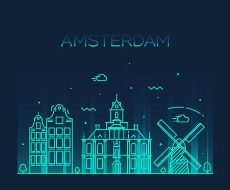 illustration line art: Amsterdam City skyline detailed silhouette Trendy vector illustration line art style