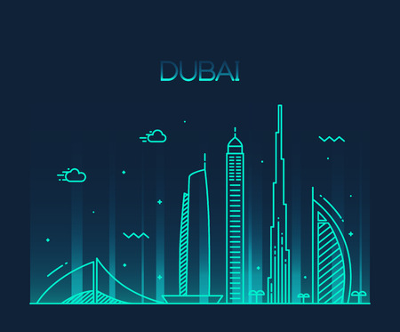 Dubai City skyline detailed silhouette Trendy vector illustration line art style