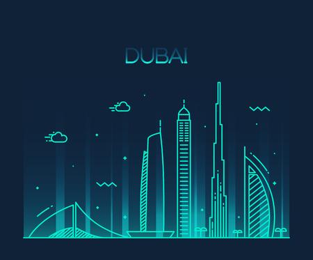oriente: Horizonte de la ciudad de Dubai silueta detallada de moda ilustración vectorial línea de estilo de arte