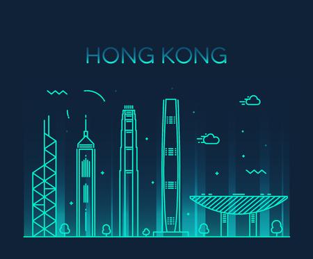Hong Kong City skyline detailed silhouette Trendy vector illustration line art style