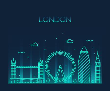 ロンドン イングランド都市スカイラインのベクトルの背景トレンディなイラスト ライン アート スタイル