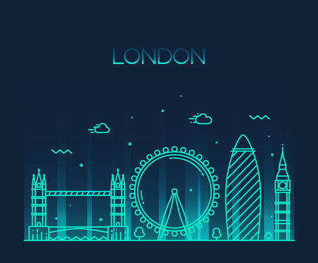 london big ben: London England city skyline vector background Trendy illustration line art style