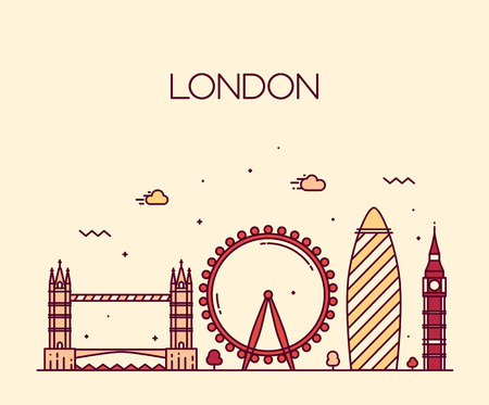 city of london: London England city skyline vector background Trendy illustration line art style