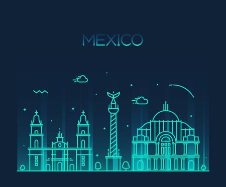 angel de la independencia: Horizonte de la ciudad de M�xico silueta detallada de moda ilustraci�n vectorial l�nea de estilo de arte Vectores