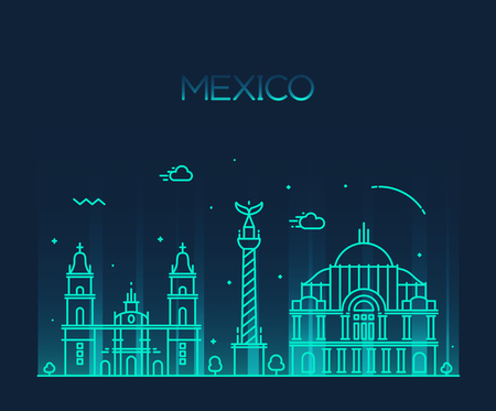 mexico: Mexico City skyline detailed silhouette Trendy vector illustration line art style