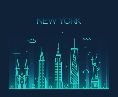 New York City skyline silhouette dettagliate stile arte vettore d'avanguardia illustrazione linea Archivio Fotografico - 42725882