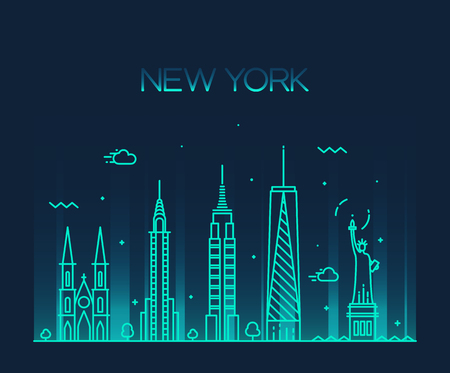 New York City skyline detailed silhouette Trendy vector illustration line art style Illustration