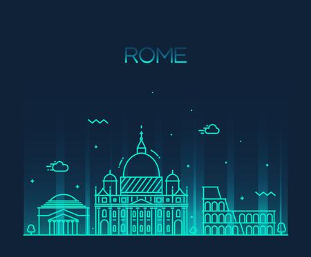 italy culture: Rome City skyline detailed silhouette Trendy vector illustration, line art style Illustration