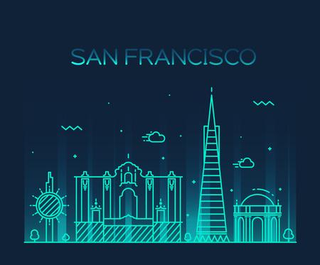 san: San Francisco City skyline detailed silhouette Trendy vector illustration line art style