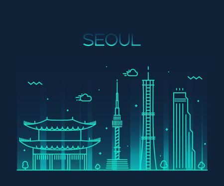 서울의 스카이 라인 상세한 실루엣 유행 벡터 일러스트 레이 션 라인 아트 스타일