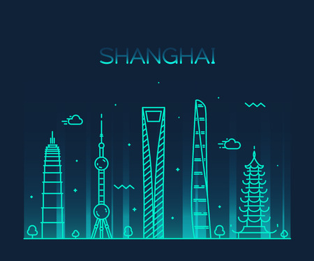 Shanghai City skyline detailed silhouette Trendy vector illustration line art style Ilustração