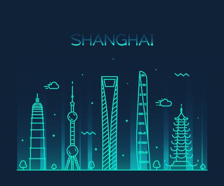 illustration line art: Shanghai City skyline detailed silhouette Trendy vector illustration line art style Illustration