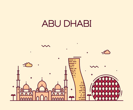 emirates: Abu Dhabi City skyline detailed silhouette Trendy vector illustration line art style Illustration