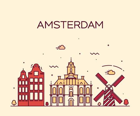 アムステルダム シティ スカイライン詳細シルエット トレンディなベクトル イラスト ライン アート スタイル