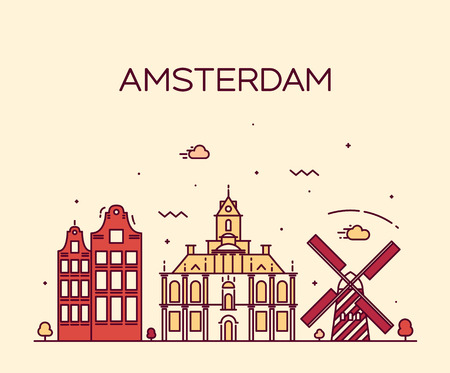 Horizonte de Amsterdam City silueta detallada de moda ilustración vectorial línea de estilo de arte Foto de archivo - 42725894