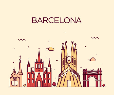 barcelone: Barcelona City skyline silhouette d�taill�e style art Trendy illustration ligne de vecteur