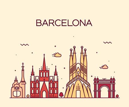 Horizonte de la ciudad de Barcelona se detalla silueta de moda ilustración vectorial línea de estilo de arte