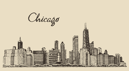 skyline city: Chicago skyline big city architecture engraving vector illustration hand drawn Illustration