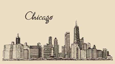 Skyline von Chicago Großstadt Architektur Gravur Vektor-Illustration Hand gezeichnet Standard-Bild - 42725895