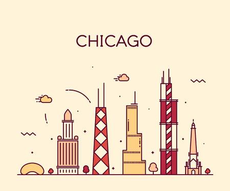 Chicago City skyline detailed silhouette Trendy vector illustration line art style 向量圖像