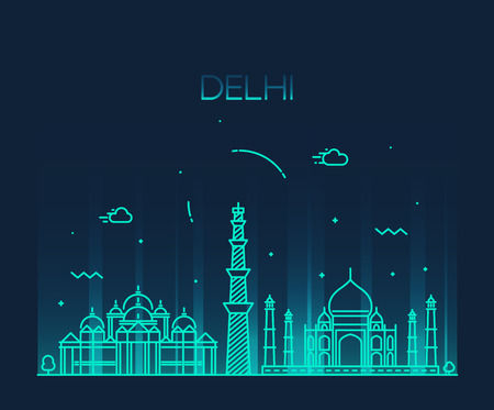 south asia: Delhi City skyline detailed silhouette Trendy vector illustration line art style Illustration