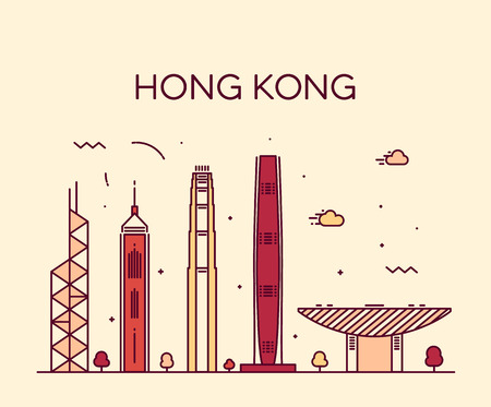 Hong Kong City skyline detailed silhouette Trendy vector illustration line art style