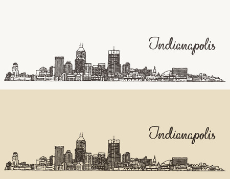 indianapolis: Indianapolis skyline, engraved style vector illustration hand drawn Illustration