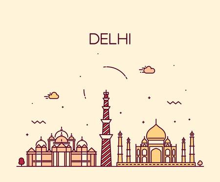 traveller: Delhi City skyline detailed silhouette Trendy vector illustration line art style Illustration
