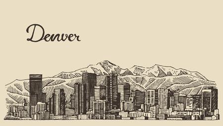 デンバーのスカイライン大都市建築ビンテージ刻まれたベクトル イラスト手描きのスケッチ