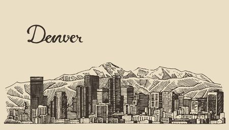 colorado mountains: Denver skyline big city architecture vintage engraved vector illustration hand drawn sketch