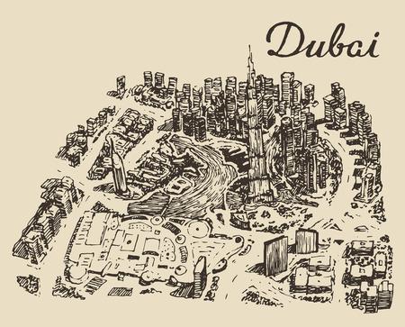 dubai: Dubai City skyline top view Hand drawn engraved vector illustration Illustration