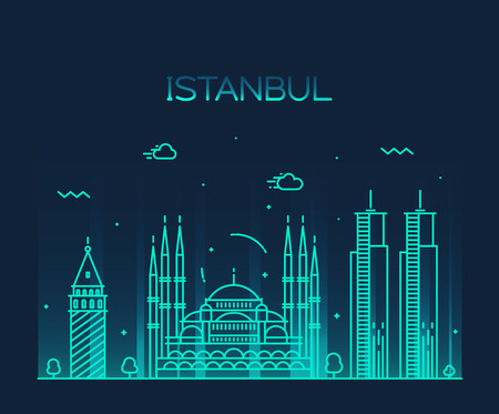 turkey istanbul: Istanbul City skyline detailed silhouette Trendy vector illustration line art style